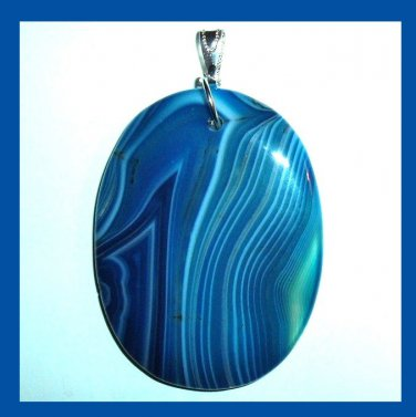 Beautiful Blue AGATE Oval Cut Gemstone Sterling Silver Pendant