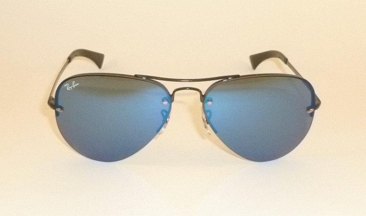 New  RAY BAN  Sunglasses AVIATOR  Black Frame  RB 3449 002/55  Blue Lenses  56mm