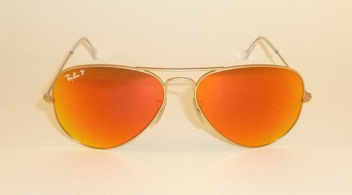 New RAY BAN Aviator  Matte Gold Frame  RB 3025 112/4D  Polarized Red Mirror 58mm