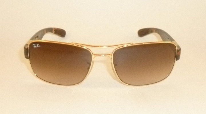 New  RAY BAN  Sunglasses  Gold Frame  RB 3522 001/13  Gradient Brown Lenses 64mm