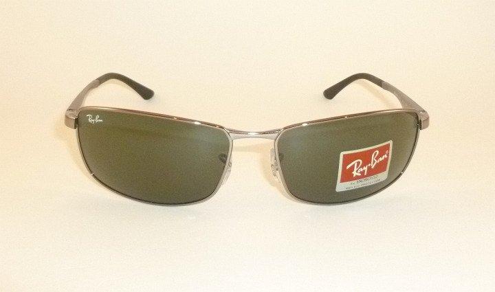 New  RAY BAN  Sunglasses  Gunmetal Frame  RB 3498 004/71  Green Lenses  64mm