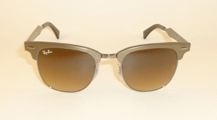 New  RAY BAN  Clubmaster Aluminum Bronze  RB 3507 139/85  Gradient Brown  49mm