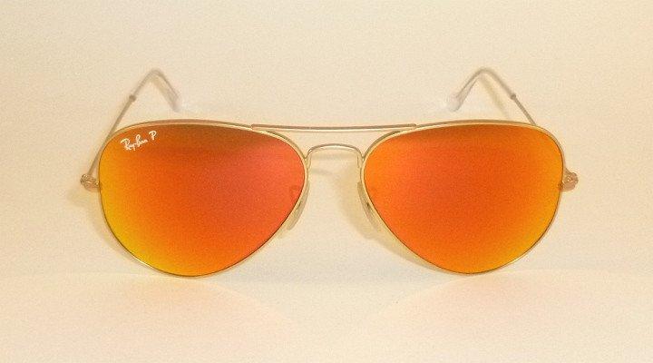 New RAY BAN Aviator Matte Gold Frame RB 3025 112/4D Polarized Orange Mirror 55mm