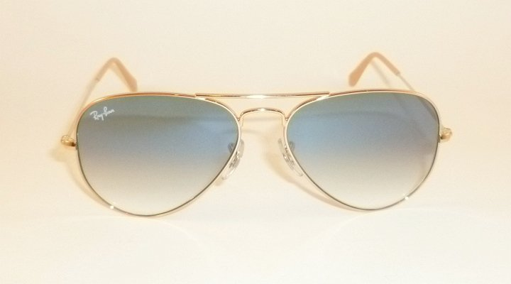 New  RAY BAN  Aviator Sunglasses  Gold Frame  RB 3025 001/3F  Gradient Blue 58mm