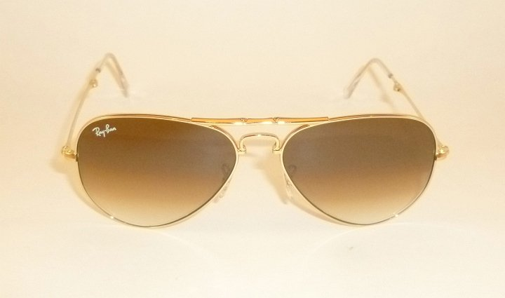 New RAY BAN  FOLDING  Aviator  Gold Frame  RB 3479 001/51  Gradient Brown 55mm