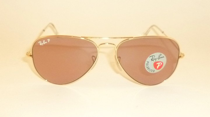 New RAY BAN Aviator Sunglasses  Gold Frame  RB 3025 001/15  Pink Polarized  58mm