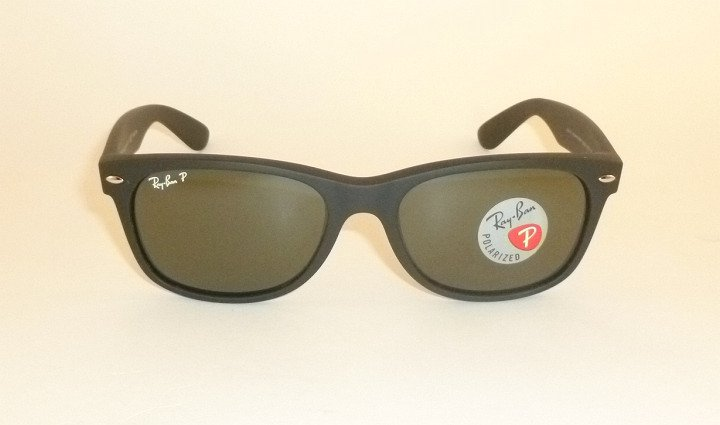 New RAY BAN Sunglasses Matte Black Rubber WAYFARER RB 2132 622/58 Polarized 52mm
