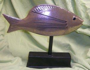Bronze Ceramic Table-Top Fish Motif Accent