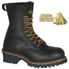 "9"" BLACK FULL GRAIN BUFFALO LEATHER STEEL TOE LOGGER - 09085"