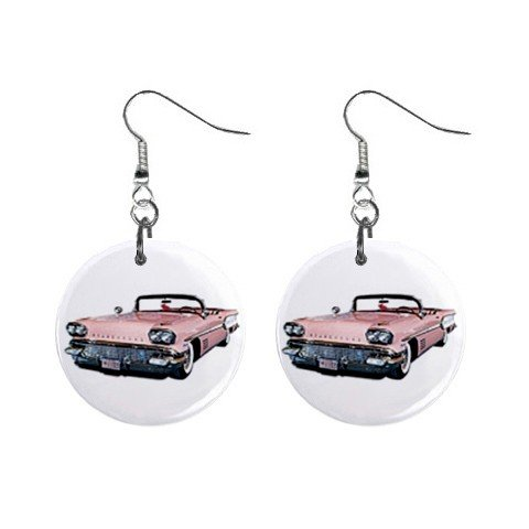 Pink Cadillac Dangle Earrings Jewelry 1 inch Buttons 12185342