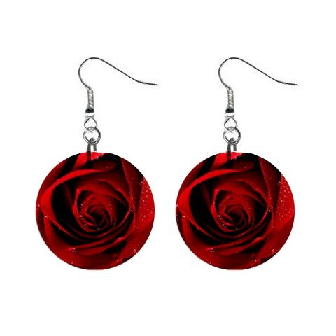 Dark Red Rose Dangle Earrings Jewelry 1 inch Buttons 12183542