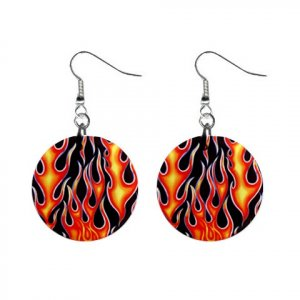 Firing Flames with Black Background Dangle Earrings Jewelry 1 inch Buttons 12185379