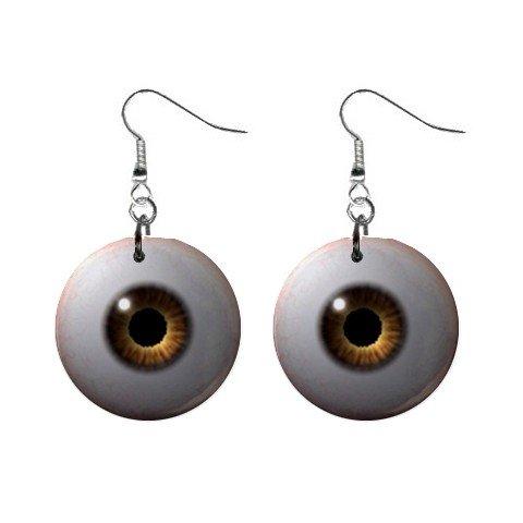 Brown Eyes Dangle Earrings Jewelry 1 inch Buttons 12191679