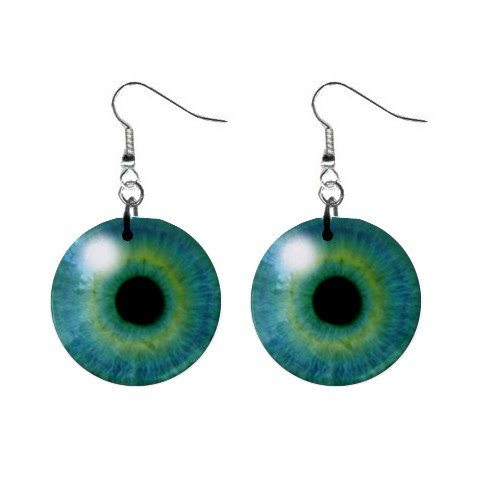 Blue Green Eyes Dangle Earrings Jewelry 1 inch Buttons 12191874