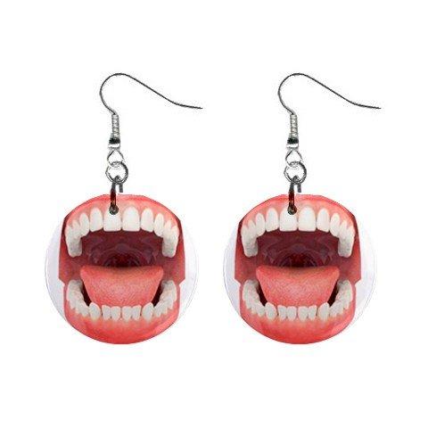 Open Mouth Dentist Dental Hygienist Dangle Earrings Jewelry 1 inch Buttons 12197130