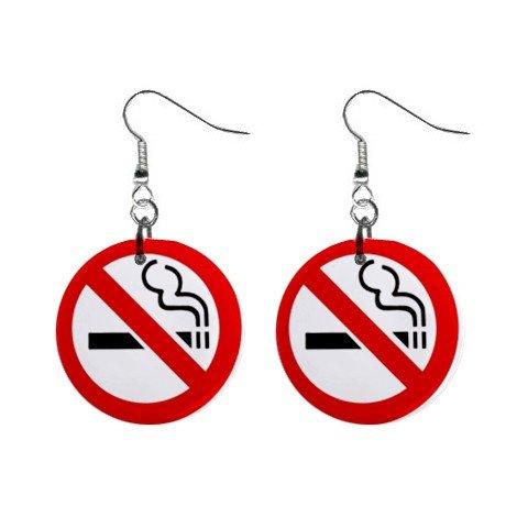 No Smoking Dangle Earrings Jewelry 1 inch Buttons 12199678