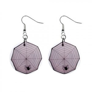 Spider in Web Dangle Earrings Jewelry 1 inch Buttons 12203749