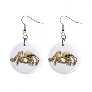 Skeleton Spider Dangle Earrings Jewelry 1 inch Buttons 12203751