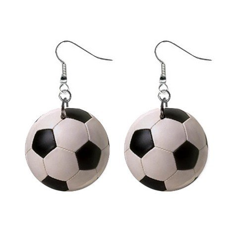 Soccer Ball Dangle Earrings Jewelry 1 inch Buttons 12207870