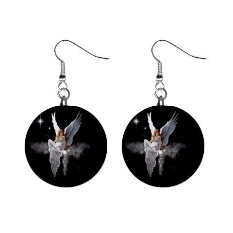 Fairy on Cloud Dangle Earrings Jewelry 1 inch Buttons 12211197