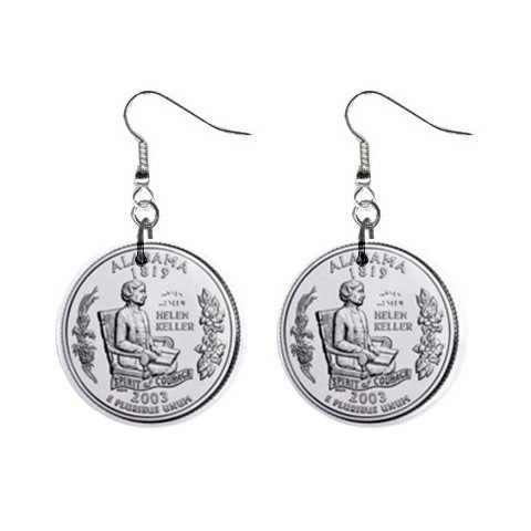 Alabama State Quarter Dangle Earrings Jewelry 1 inch Buttons 12302753