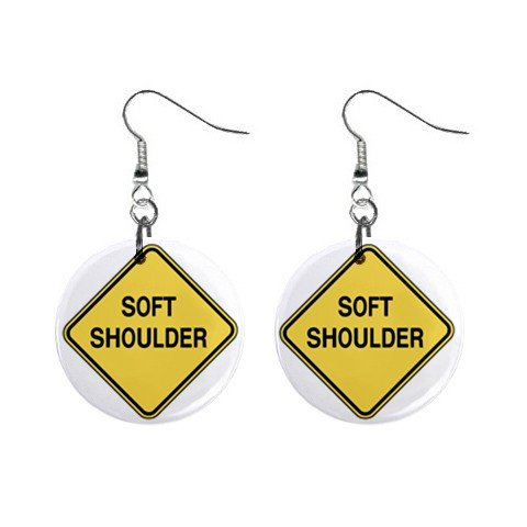 Soft Shoulder Road Sign Dangle Earrings Jewelry 1 inch Buttons 12240072
