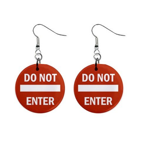 Do Not Enter Road Sign Dangle Earrings Jewelry 1 inch Buttons 12240148
