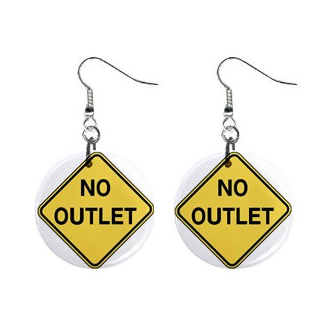 No Outlet Road Sign Dangle Earrings Jewelry 1 inch Buttons 12240165