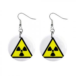Radioactive Symbol Sign Dangle Earrings Jewelry 1 inch Buttons 12240166