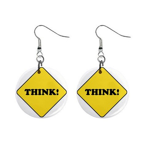 THINK Sign Dangle Earrings Jewelry 1 inch Buttons 12240167