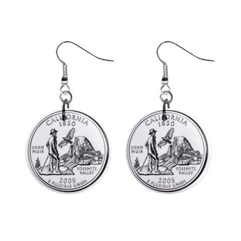 California State Quarter Dangle Earrings Jewelry 1 inch Buttons12302751