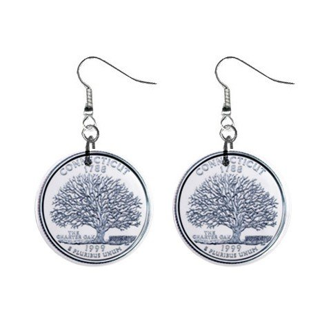 Connecticut State Quarter Dangle Earrings Jewelry 1 inch Buttons 12302750