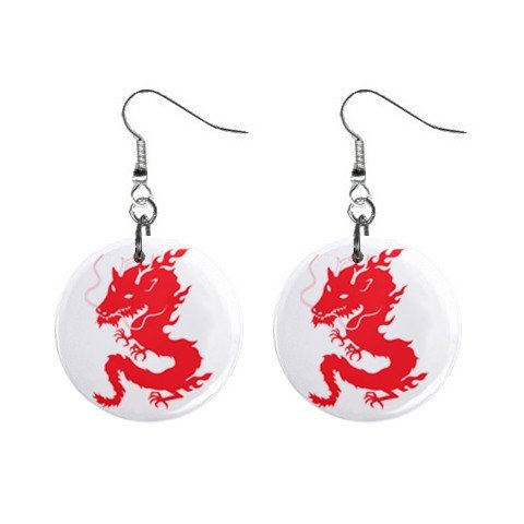 Red Chinese Dragon Dangle Earrings Jewelry 1 inch Buttons 12240264