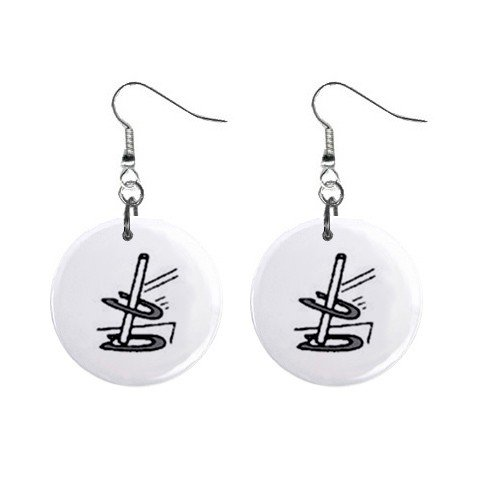 Game of Horseshoes Dangle Earrings Jewelry 1 inch Buttons 12247259