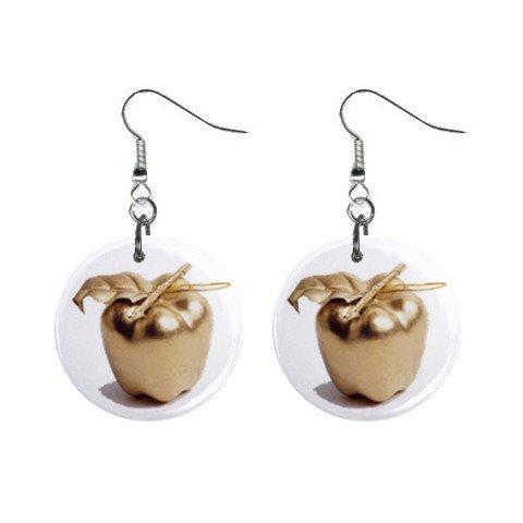 Golden Apple Dangle Earrings Jewelry 1 inch Buttons 12247272