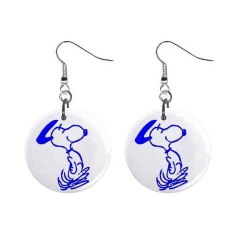 Snoopy Dancing Blue Dangle Earrings Jewelry 1 inch Buttons 12304861