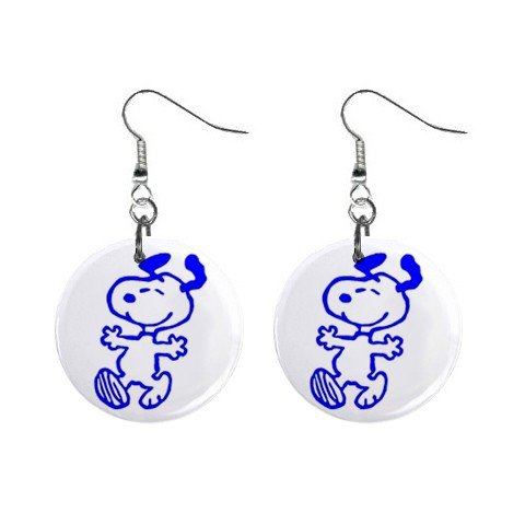 Snoopy Happy Blue Dangle Earrings Jewelry 1 inch Buttons 12304862