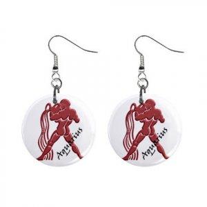 Zodiac Sign Aquarius Dangle Earrings Jewelry 1 inch Buttons 12176336