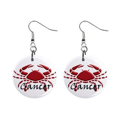 Zodiac Sign Cancer Dangle Earrings Jewelry 1 inch Buttons 12176339