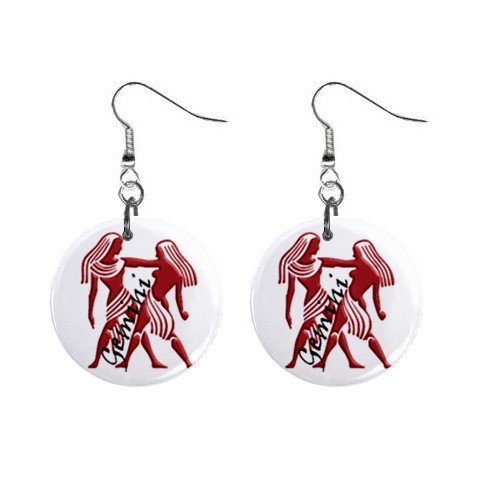 Zodiac Sign Gemini Dangle Earrings Jewelry 1 inch Buttons 12176342