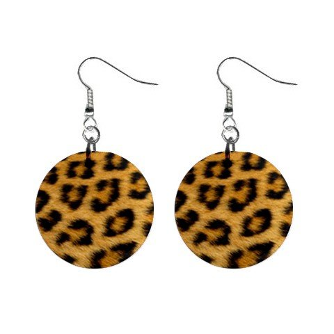 Cheetah Fur Print Dangle Earrings Jewelry 1 inch Buttons 12176314