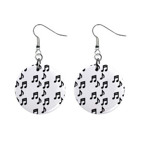 Music Notes Dangle Earrings Jewelry 1 inch Buttons 12176322