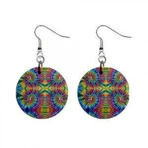 Tie Dye Tiedye Dangle Earrings Jewelry 1 inch Buttons 12176332