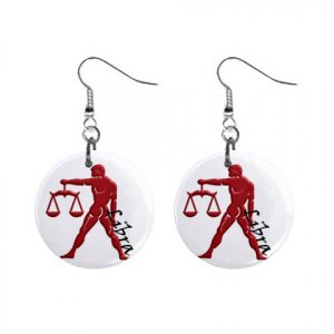Zodiac Sign Libra Dangle Earrings Jewelry 1 inch Buttons 12176345