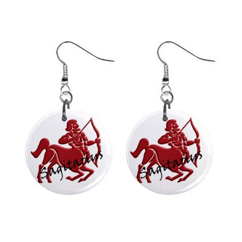 Zodiac Sign Sagittarius Dangle Earrings Jewelry 1 inch Buttons 12176348