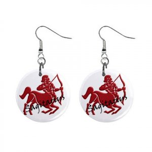 Zodiac Sign Sagittarius Dangle Earrings Jewelry 1 inch Buttons 12176348