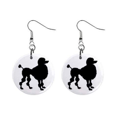 Black Poodle Silhouette Dangle Earrings Jewelry 1 inch Buttons 12305898
