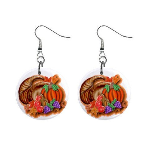 Horn O Plenty Thanksgiving Day Dangle Earrings Jewelry 1 inch Buttons 12305921