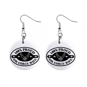 Proud Air Force Wife Dangle Earrings Jewelry 1 inch Buttons 12305923