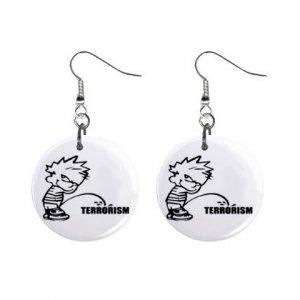 Pee On Terrorism Dangle Earrings Jewelry 1 inch Buttons 12305979
